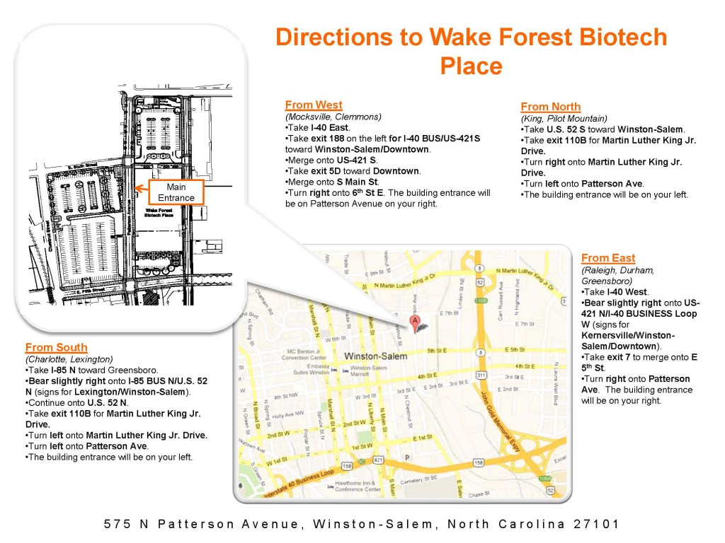 Directions to WF Biotech Place